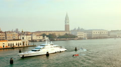 Tourist boat leaving venetian lagoon, venice,st mark's square Stock Footage