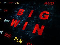 Business concept: Big Win on Digital background - stock illustration
