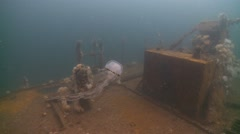 Jelly fish feeding on planton shipwreck blue ocean background Stock Footage
