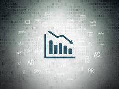 Stock Illustration of Marketing concept: Decline Graph on Digital Paper background