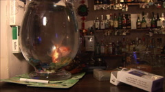 Chinese bar, fish bowl, alcohol bottles Stock Footage