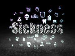 Healthcare concept: Sickness in grunge dark room - stock illustration