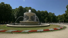 Beautiful fountain in Saxon Garden on a sunny day in Warsaw Stock Footage