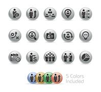 Business Efficiency Icons -- Metal Round Series - stock illustration