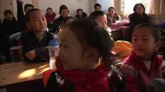 Chinese school classroom, children, Beijing - stock footage