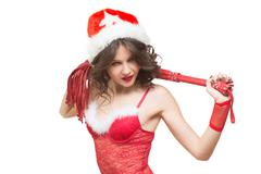 Sexy Snow Maiden with a whip. sex toy. santa girl - stock photo