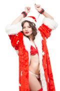 Sexy Snow Maiden headphones for sex games. Isolated on white background. santa Stock Photos