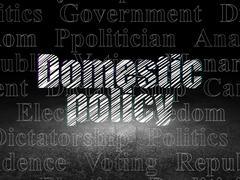 Politics concept: Domestic Policy in grunge dark room - stock illustration