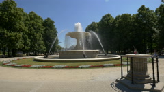 View of the beautiful fountain in the Saxon Garden in Warsaw Stock Footage