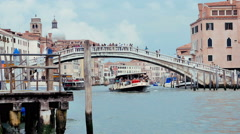 View of a large Venetian canal whit a vaporetto - venice Stock Footage