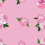 Seamless pattern with pink peonies - stock illustration