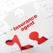 Insurance concept: Insurance Agent on puzzle background Stock Illustration