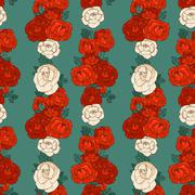 seamless pattern with roses - stock illustration
