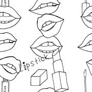 Makeup seamless pattern - stock illustration