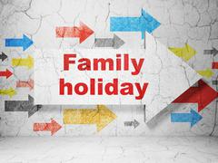 Vacation concept: arrow with Family Holiday on grunge wall background Piirros