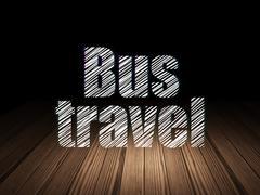 Travel concept: Bus Travel in grunge dark room Stock Illustration