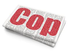 Law concept: Cop on Newspaper background - stock illustration