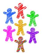 Paper people colored with markers isolated on white background - stock illustration