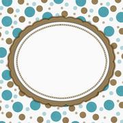Teal, Brown and White Polka Dot Frame Background Stock Illustration