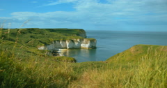 Flamborough Head Coastline in East Yorkshire Stock Footage