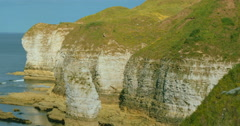 Flamborough Head Cliffs in East Yorkshire Stock Footage