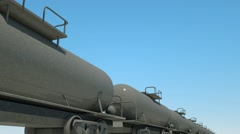 Transportation tank cars with oil during sunset. Stock Footage
