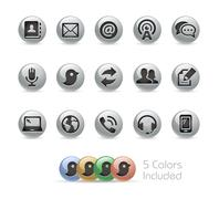 Communications Icons -- Metal Round Series - stock illustration