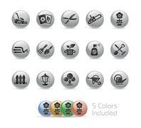 Gardening Icons -- Metal Round Series - stock illustration