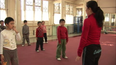 Chinese kids practicing Kung Fu, Beijing Stock Footage
