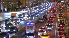 Russia. Moscow - 2015: 4K V Ambulance car drive in traffic jam - stock footage
