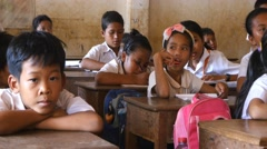 School children learning in classroom 4k Cambodia Asia happy smiling Stock Footage