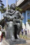 Statue 'maternity'. Botero square, Medellin. Stock Photos