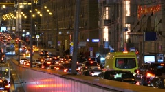 Russia. Moscow - 2015: 4K V Ambulance car drive in traffic jam Stock Footage