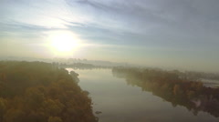 Morning fly like bird  over autumn  foggy  river  coastline at low height. Aeria Stock Footage