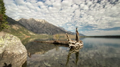 Time Lapse at Jenny Lake with Kayakers Stock Footage