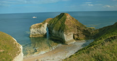 Flamborough Head Coastline & Boat in East Yorkshire Stock Footage