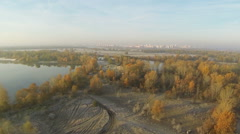 48 seconds fly like bird  over autumn  foggy   field and river  at low height.  Stock Footage