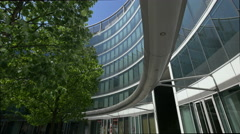 Walking in the courtyard of Regus Business Center, Warsaw Stock Footage