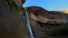 Calf Creek Falls tripod sunset - stock footage