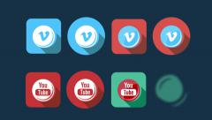 Flat Style Animated Social Icons Stock Footage
