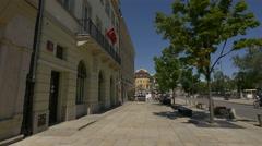 Flag of Turkey waving on a building on Krakowskie Przedmiescie Warsaw Stock Footage
