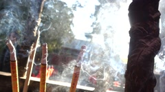 Thurification,slow motion of joss sticks,in xiangshan moutain Stock Footage