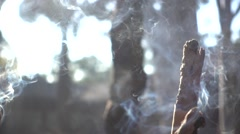 thurification,people go to burn joss-sticks,slow motion of joss sticks - stock footage