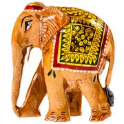 Indian painted wooden elephant figurine - stock photo