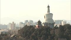 White Pagoda, Beijing landmark, China Stock Footage
