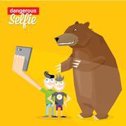Dangerous selfie with bear concept illustration - stock illustration