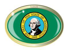 Washington State Flag Oval Button - stock illustration
