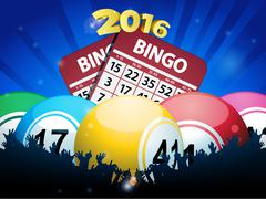 Stock Illustration of New Years Bingo balls and cards background