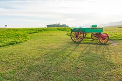 Emptry Carriage on Green field and blue sky - stock photo