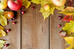 Stock Photo of frame of autumn leaves, fruits and berries on wood